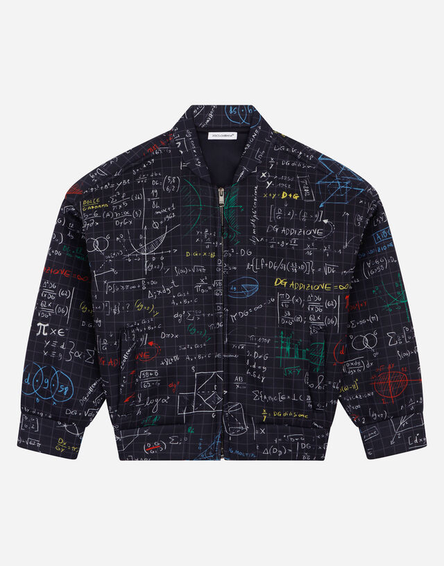Technical jersey bomber jacket with algebra print in Multicolor