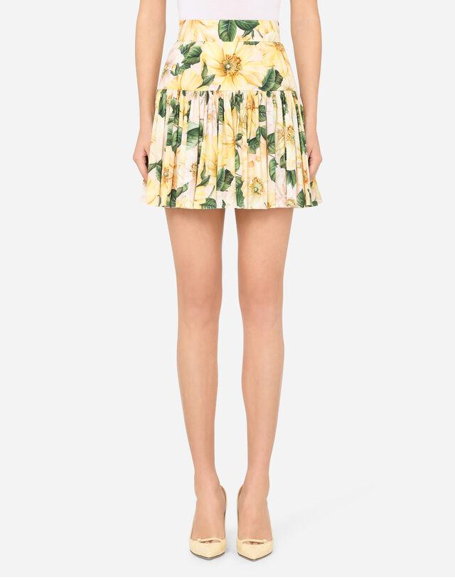 Short circle skirt in camellia-print poplin in FLORAL PRINT