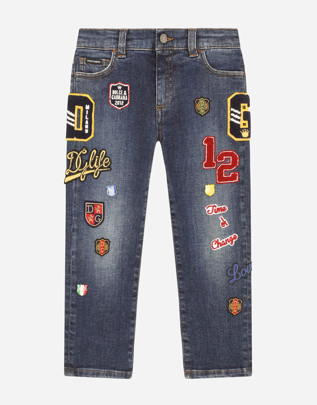 Regular-fit stretch jeans with decorative patches in Blue