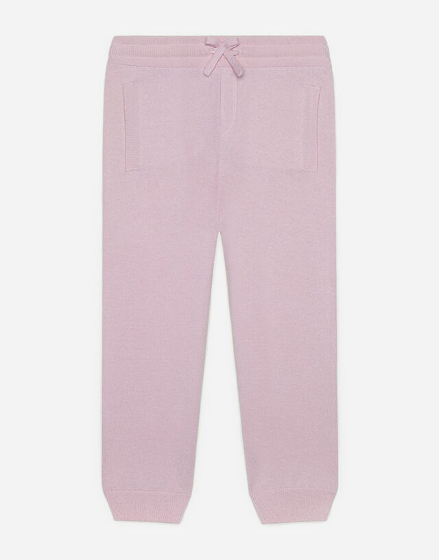 Cashmere jogging pants with Heritage embroidery in Pink