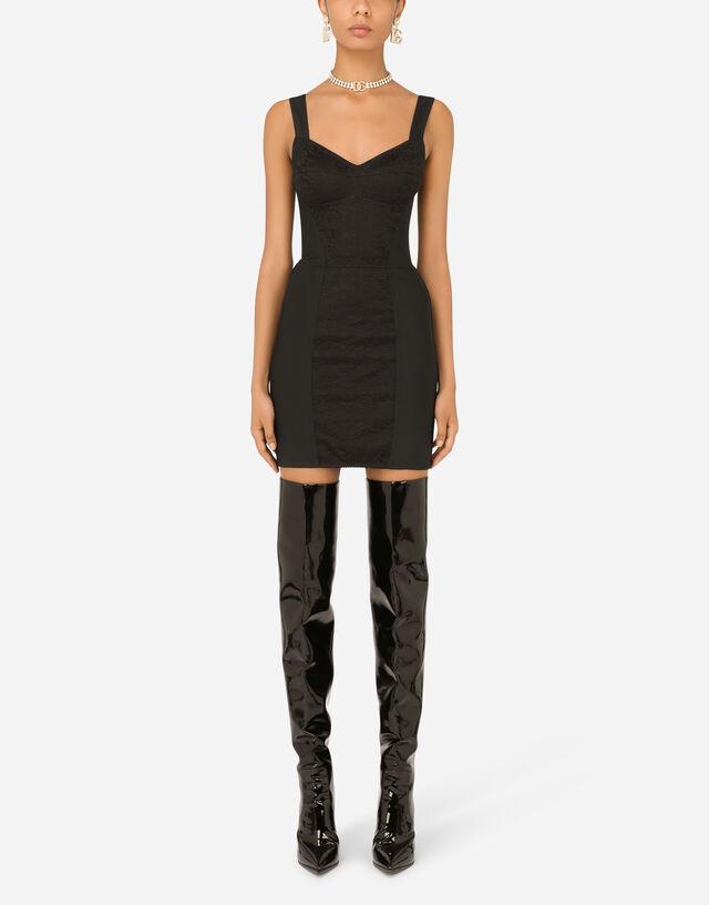 Corset-style slip dress in Black