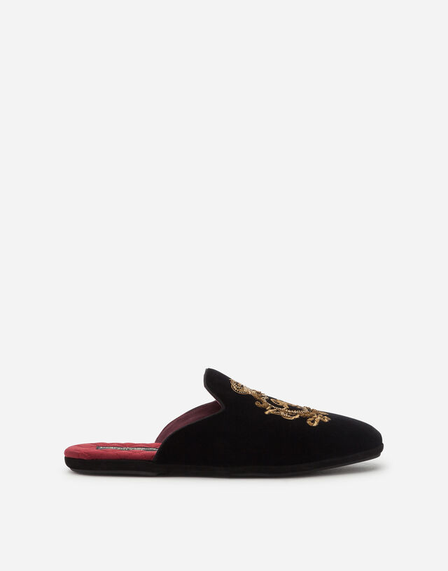 Velvet open-back slippers with coat of arms embroidery in BLACK