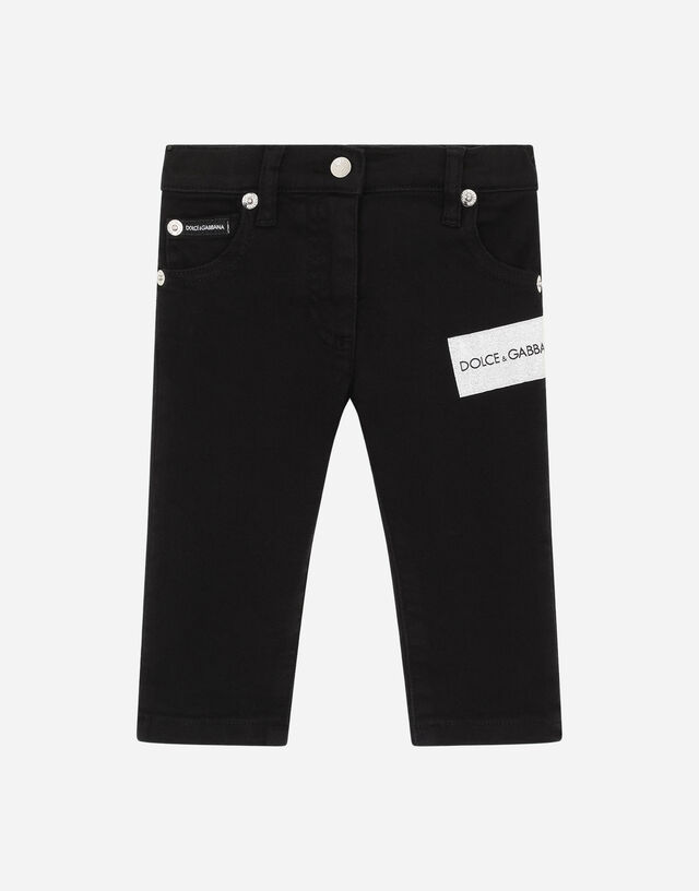Slim-fit jeans with lurex patch in Black