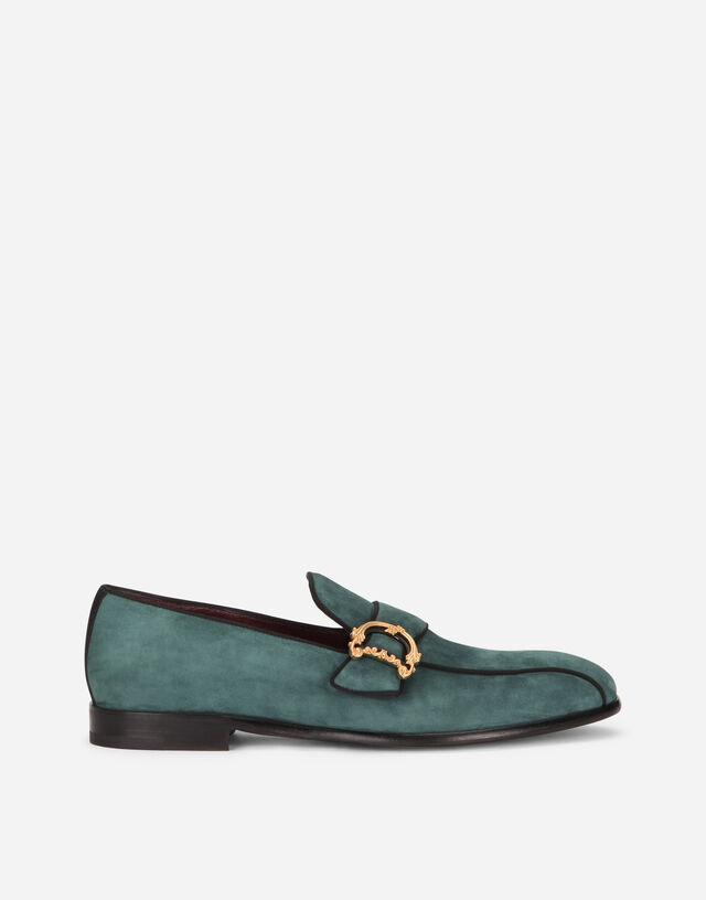 Suede loafers with baroque DG logo in GREEN