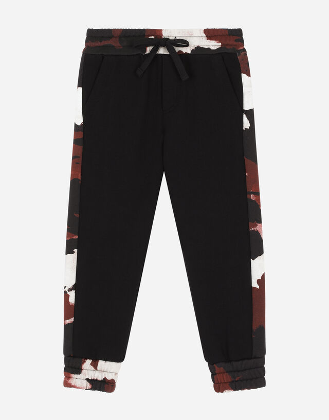 Jersey jogging pants with camouflage intarsia in Black