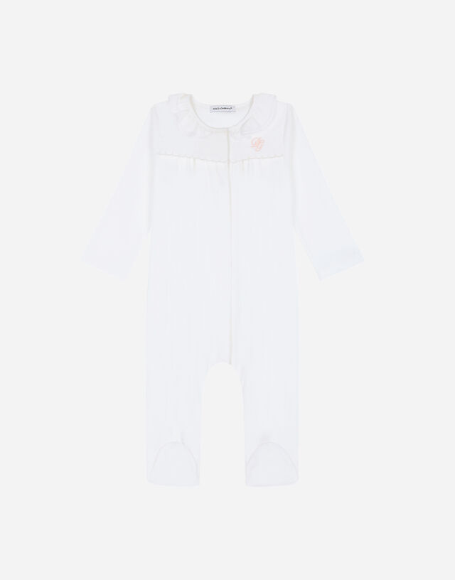 Jersey and poplin onesie with DG embroidery in White