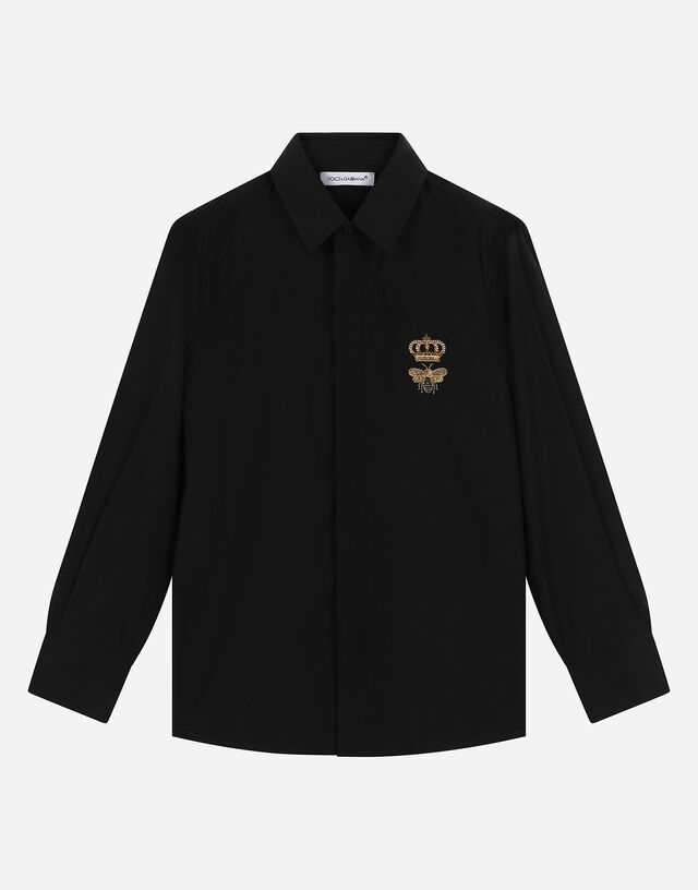 Poplin shirt with crown and bee logo in Black