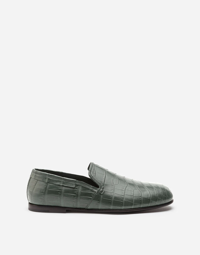 Crocodile nappa slip-on shoes in BLUE