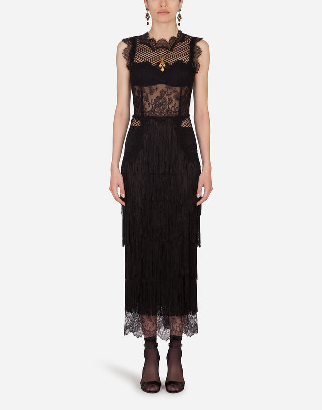 Lace sheath dress with fringing in Black