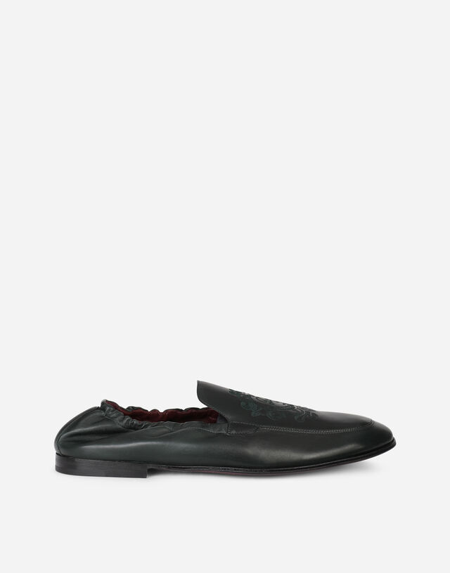 Calfskin loafers with DG coat of arms embroidery in GREEN
