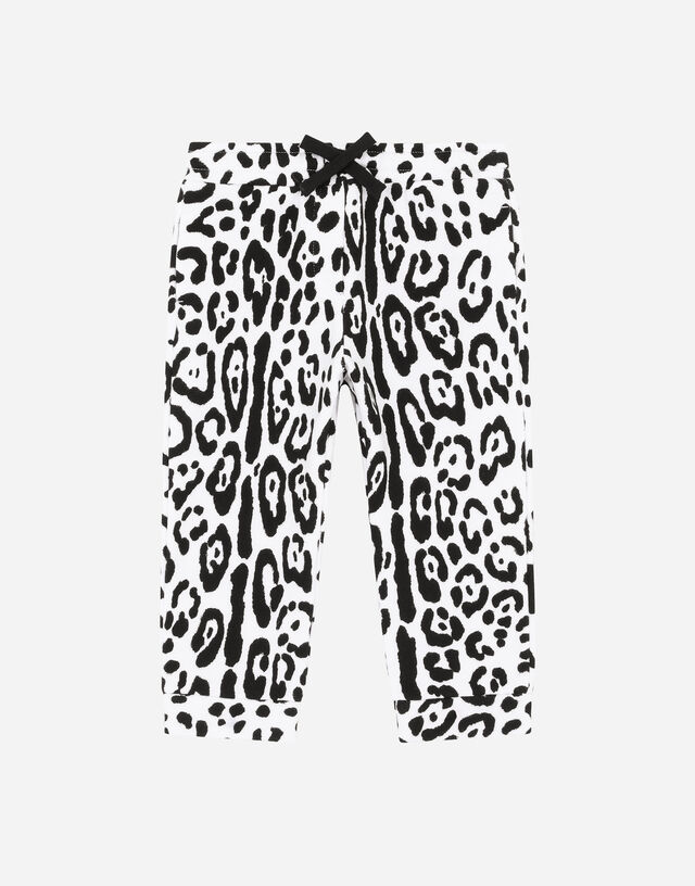 Jersey jogging pants with snow-leopard print in Multicolor