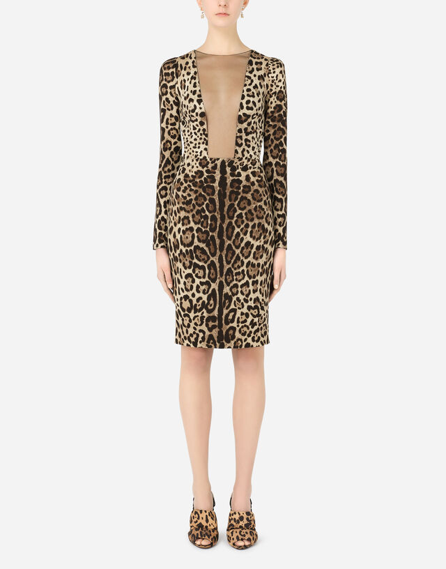 Leopard-print charmeuse and tulle dress in Multicolor