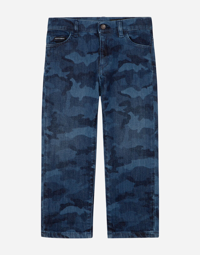 Dad-fit stretch jeans with camouflage print in Multicolor