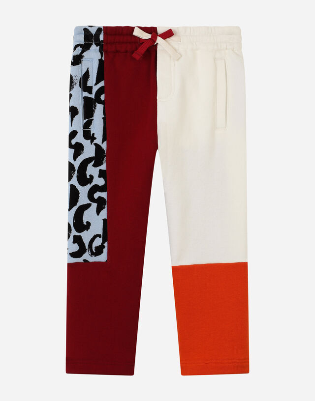 Jersey patchwork jogging pants in Multicolor