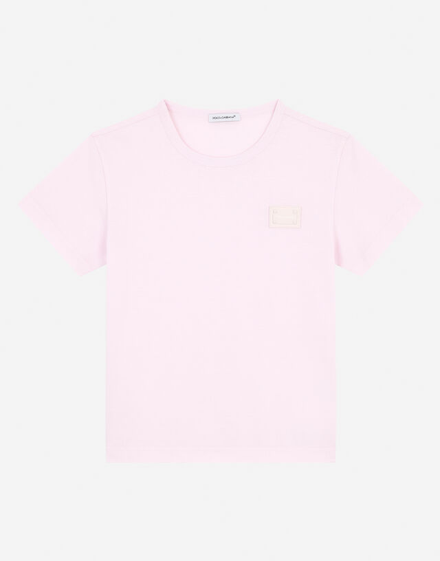 Jersey T-shirt with logo plate in Pink