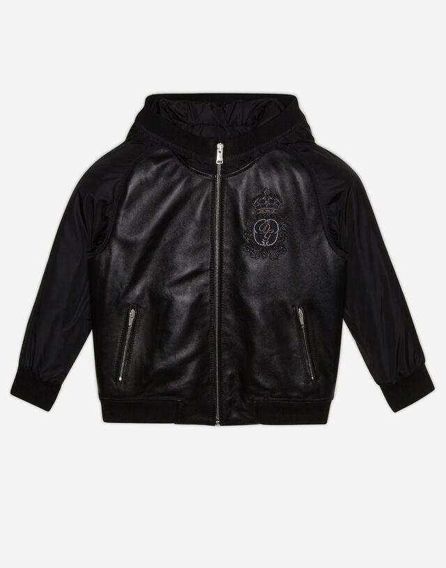 Hooded bomber jacket in leather and nylon with logo patch in Black