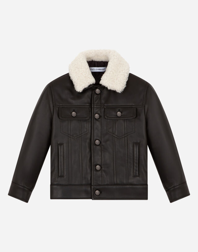 Nappa leather jacket with shearling collar in Black