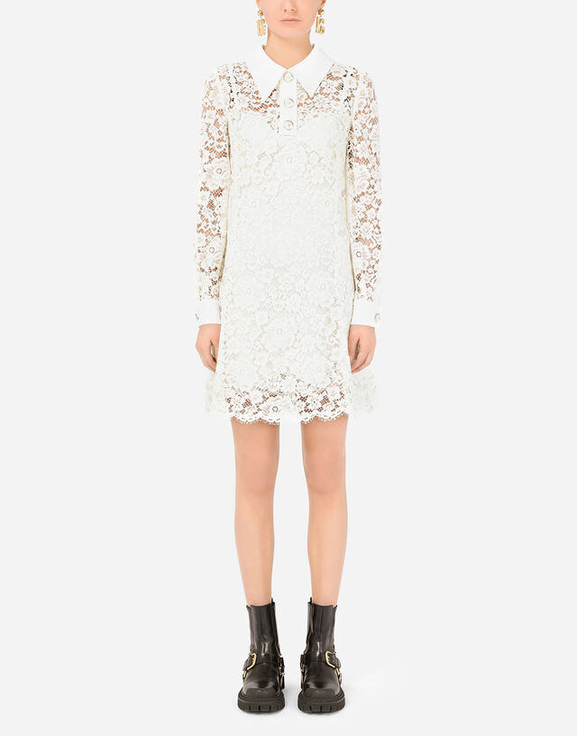 Short lace dress in WHITE