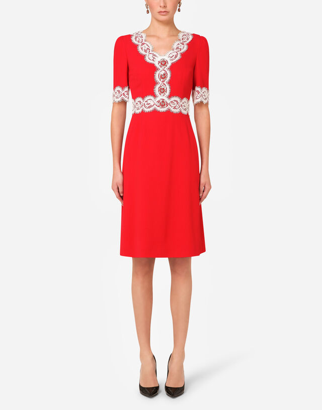 Cady midi dress with lace detailing  in RED