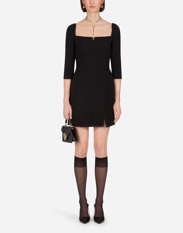 Short double crepe dress in BLACK