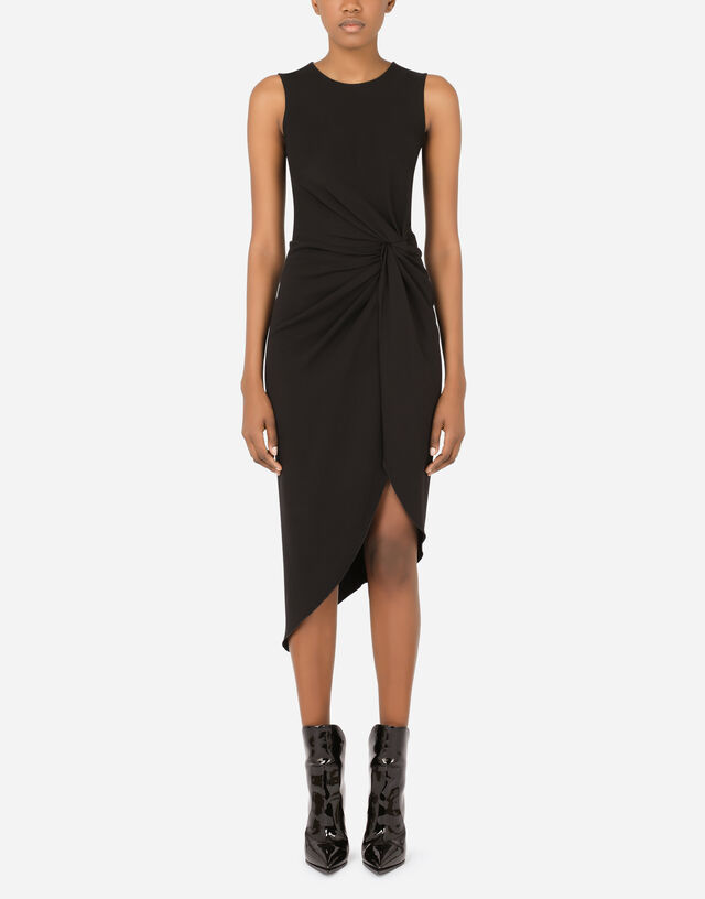 Cady calf-length dress with knot detail in Black