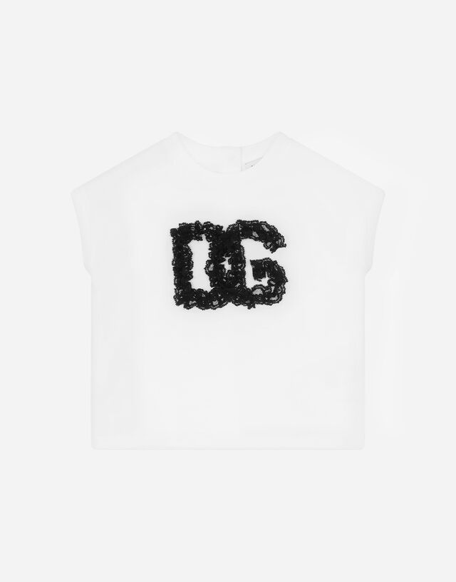 Jersey T-shirt with lace patch in White
