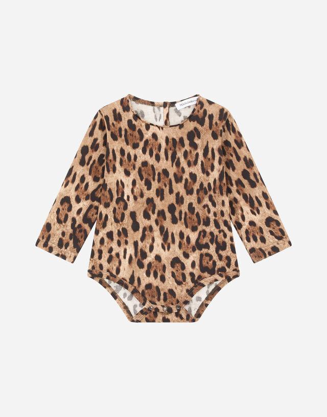 Leopard-print jersey babygrow in Multicolor