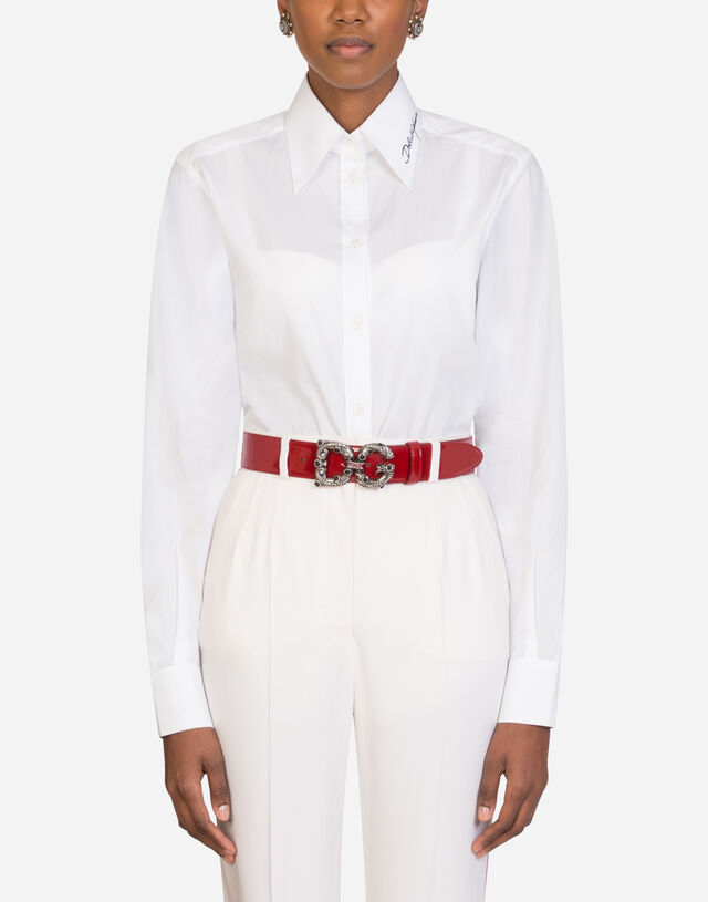 Embroidered poplin shirt in MULTICOLOR