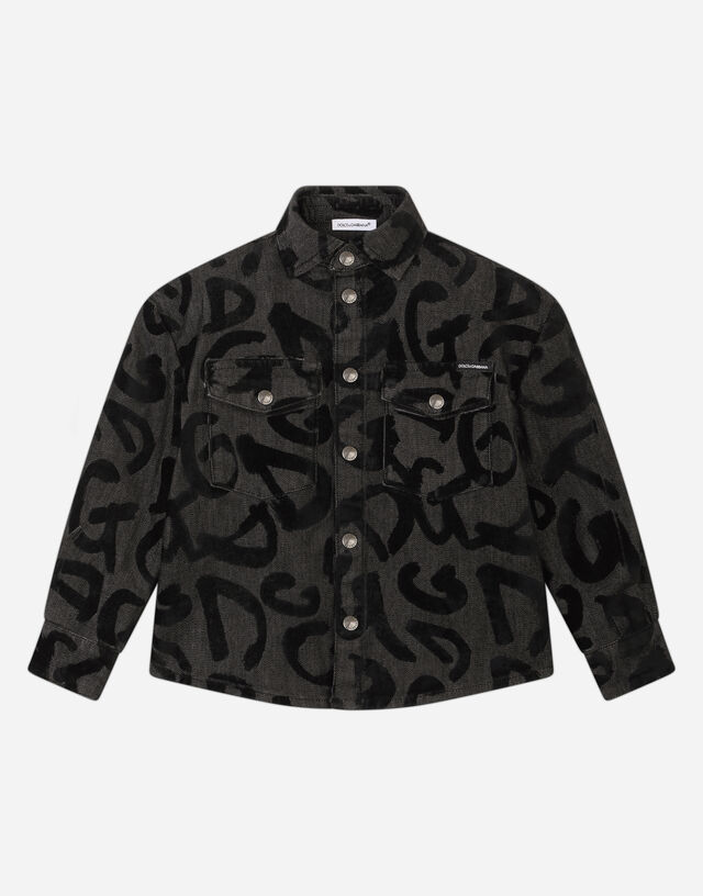 Denim shirt with flocked logo print in Multicolor