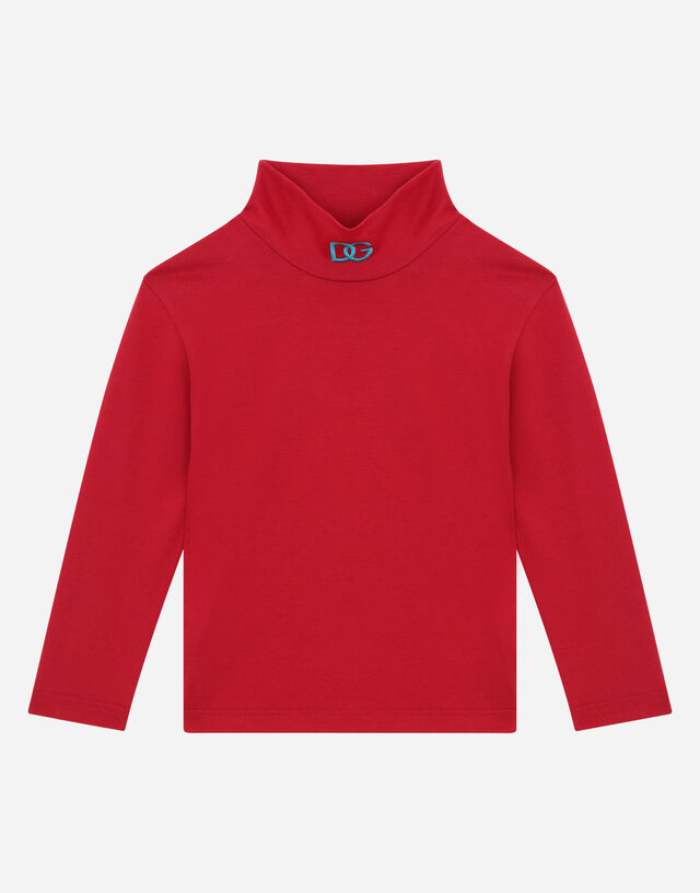 Jersey turtle-neck with DG logo embroidery in Bordeaux