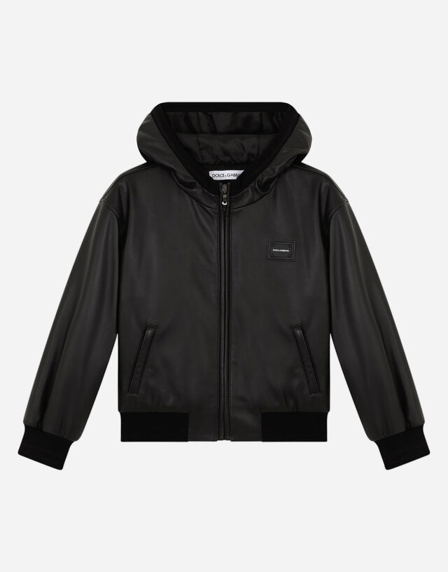 Hooded nappa leather jacket in Black