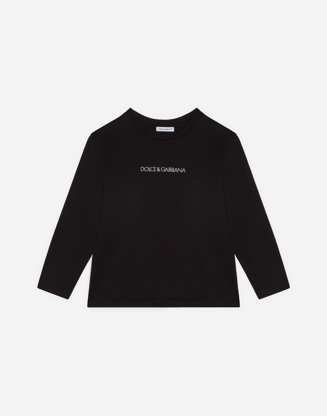 Long-sleeved jersey t-shirt with logo embroidery in Black
