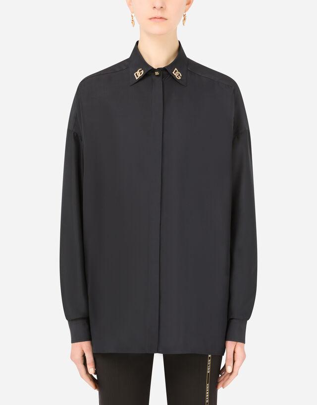 Habotai shirt with DG crystal embellishment in Black