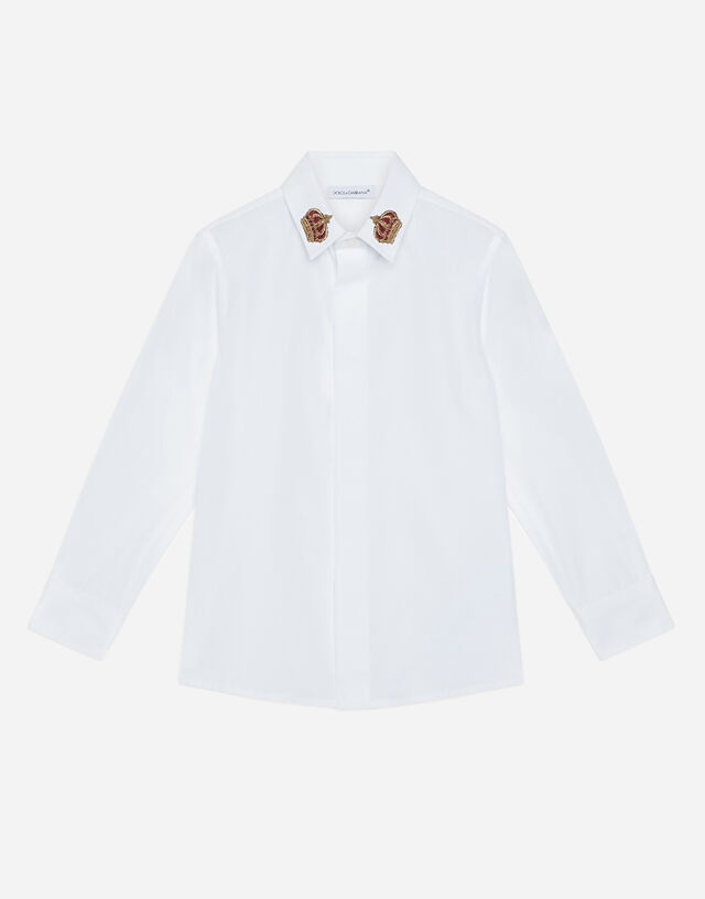 Poplin shirt with crown patch in White