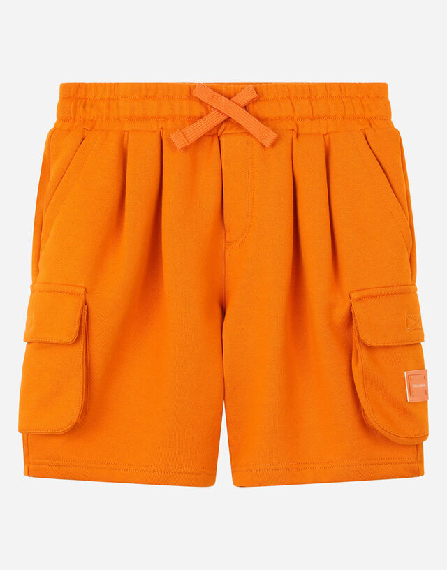 Jersey jogging shorts with logo plate in Orange