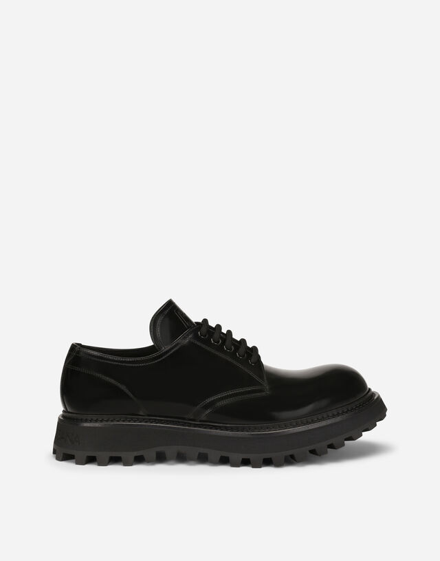 Brushed calfskin Derby shoes with extra-light sole in Black