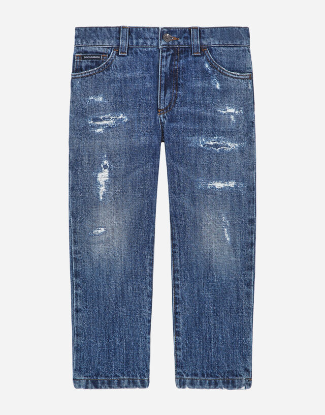 Petrol blue regular-fit stretch jeans with abrasions in Blue