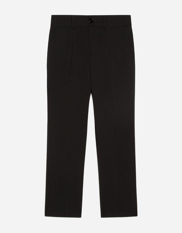 Stretch wool pants in Black