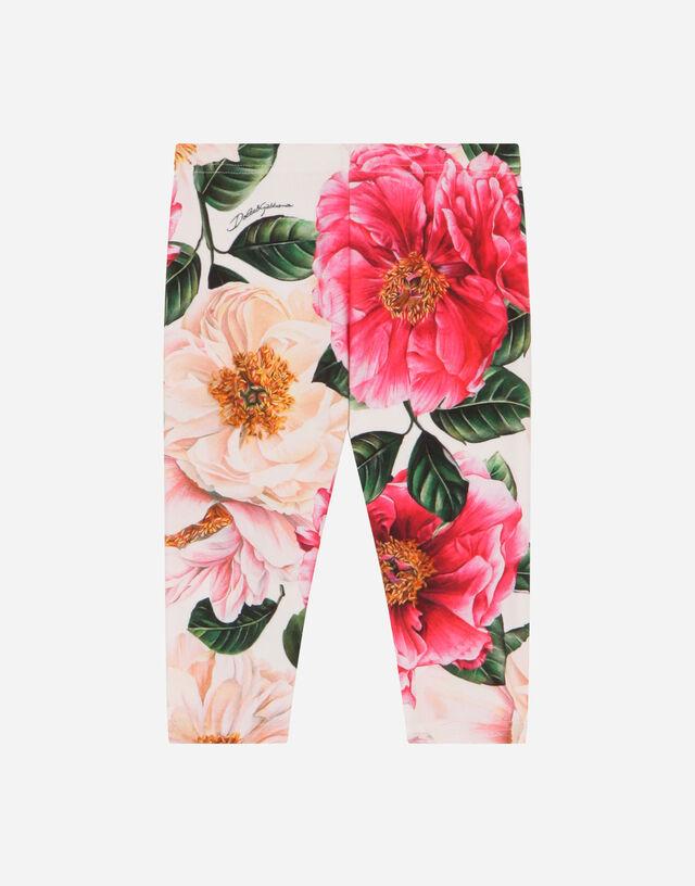Camellia-print interlock leggings in Multicolor
