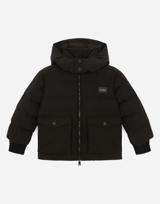 Hooded nylon and ripstop down jacket in Black