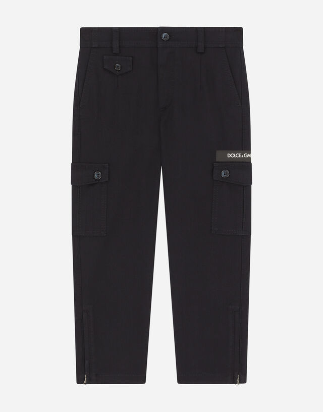 Cotton cargo pants with logo tape in Blue