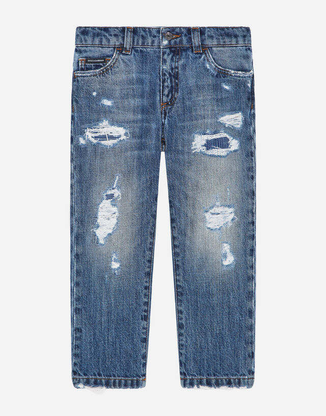 Regular-fit washed light petrol blue jeans with rips in Blue