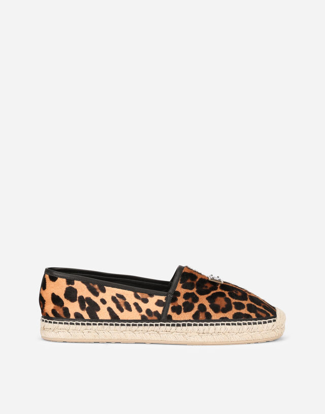 Leopard-print pony hair espadrilles with branded plate in Multicolor