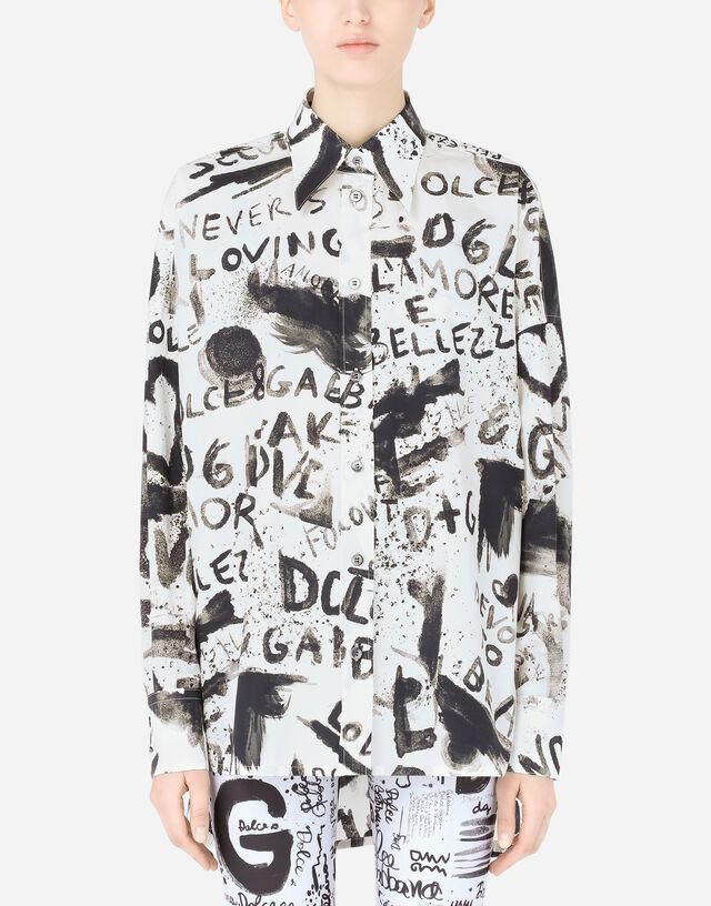 Poplin shirt with DG graffiti print in Multicolor