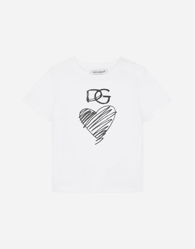 Jersey T-shirt with DG heart print in White