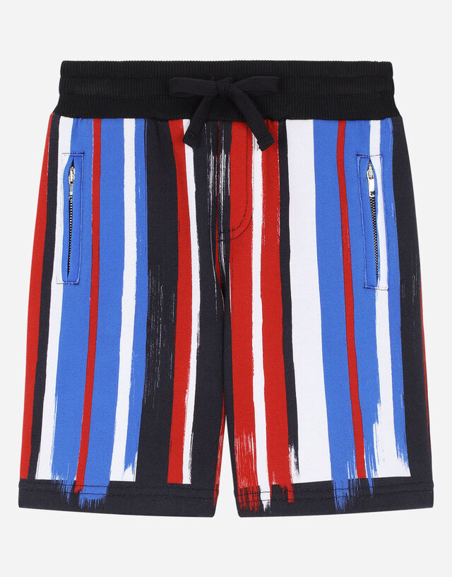 Jersey jogging shorts with striped brushstroke print in Multicolor