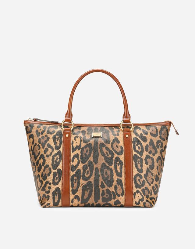 Medium leopard-print Crespo shopper with branded plate in Multicolor