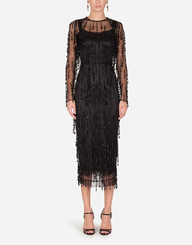 Sheath dress with beaded fringe appliqués in Black