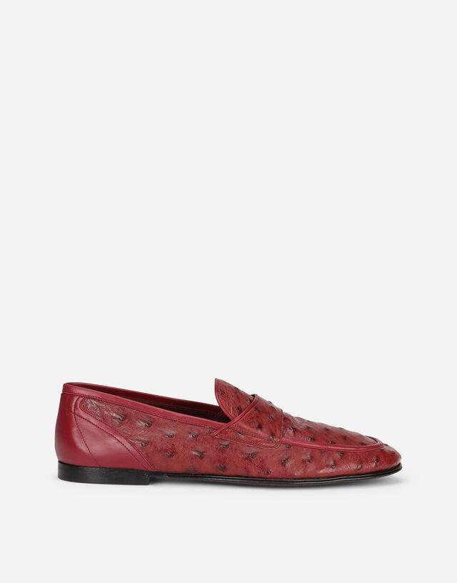 Ostrich skin slippers in Bordeaux