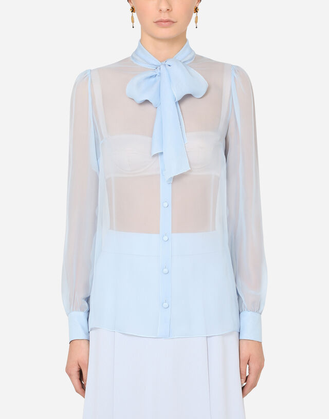 Chiffon shirt with pussy bow in AZURE